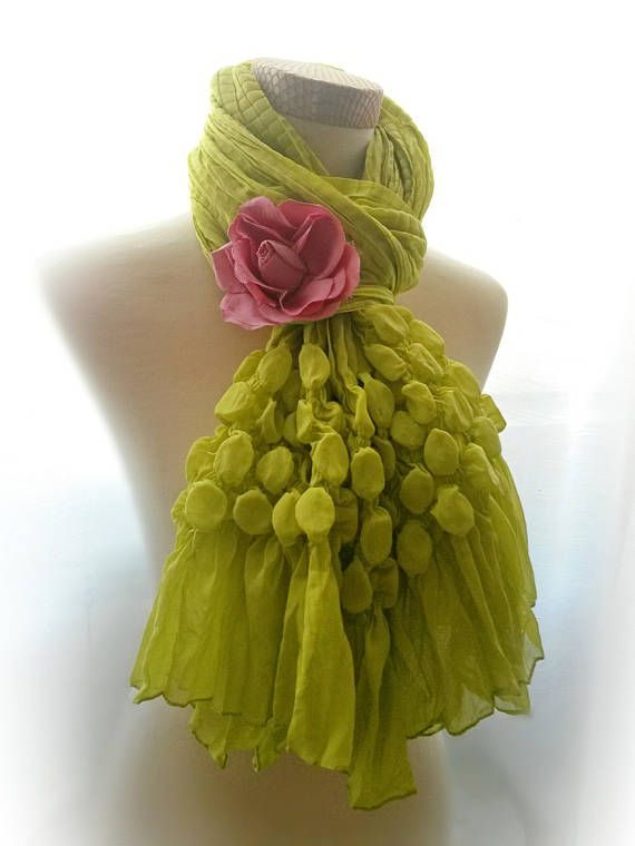 vintage kiwi boho scarf Light festive Party unusual Long Huge