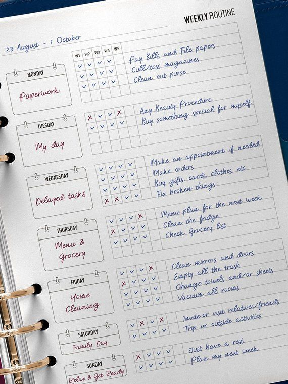 Weekly Routine Printable Checklist is a Home Management Planner Insert for Flylady's Basic Weekly Plan followers