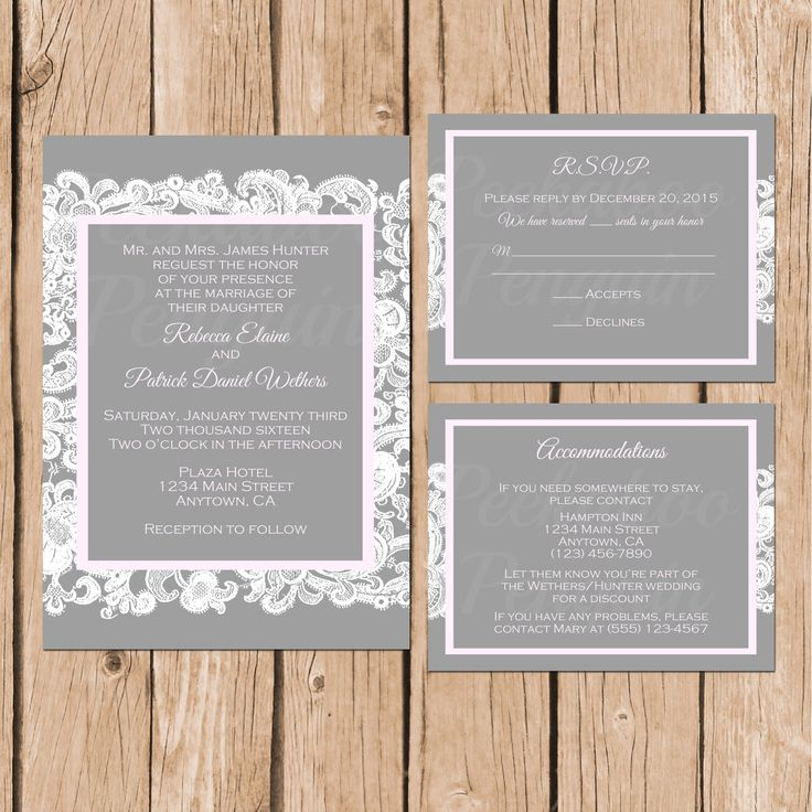 free printable0th wedding anniversary invitations%0A Lace Wedding Invitations  Pink And Grey Wedding Invites  Printable Wedding  Invitations  Rustic Wedding
