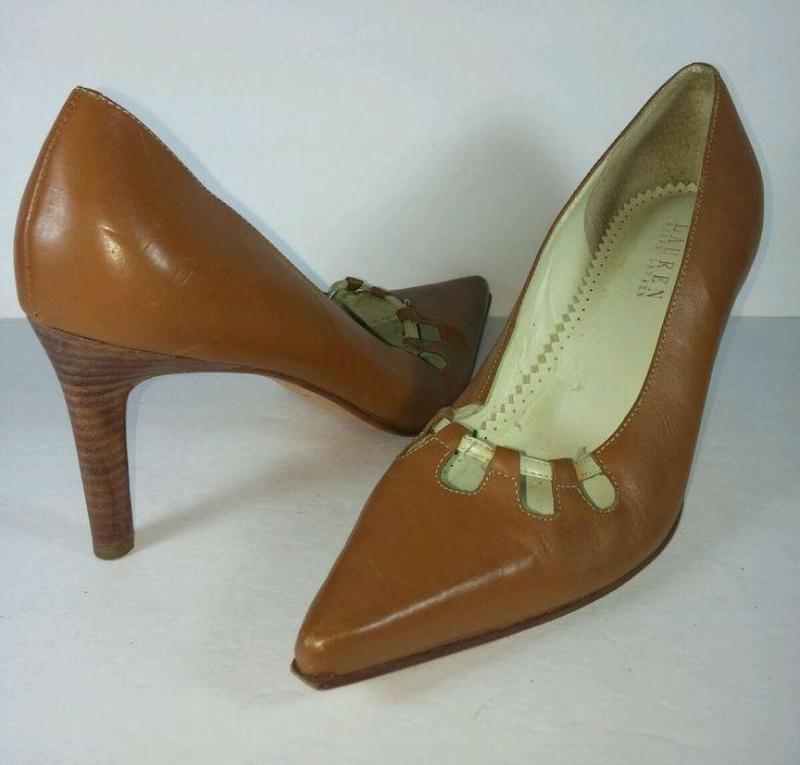 Ralph Lauren Brown Leather Women's Pumps High Heel Shoes Size 8B  #RalphLaurenCollection #PumpsClassics #