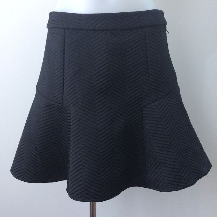 TOKITO Size 6 Chevron Ribbed Textured Skirt Black Short A Line Fit And Flare  | eBay