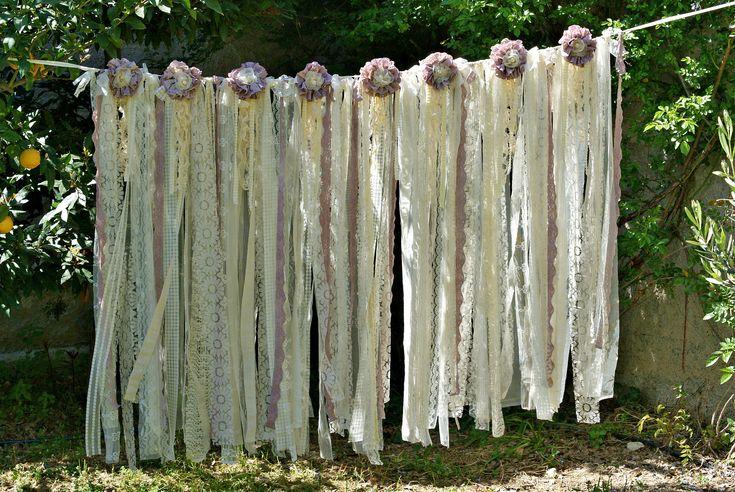 Boho Wedding Decor, Wedding Backdrop Garland, Shabby Chic Romantic Wedding Backdrop Garland Curtain, Boho Bridal Shower Decor, Bohemian Lace