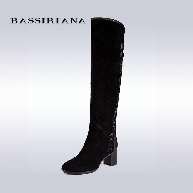 BASSIRIANA женские зимние сапоги до колена Мягкая теплая замша Евромех Теплые сапоги на каблуке для женщин Устойчивый каблук Бесплатная доставка #CLICK! #clothing, #shoes, #jewelry, #women, #men, #hats, #watches