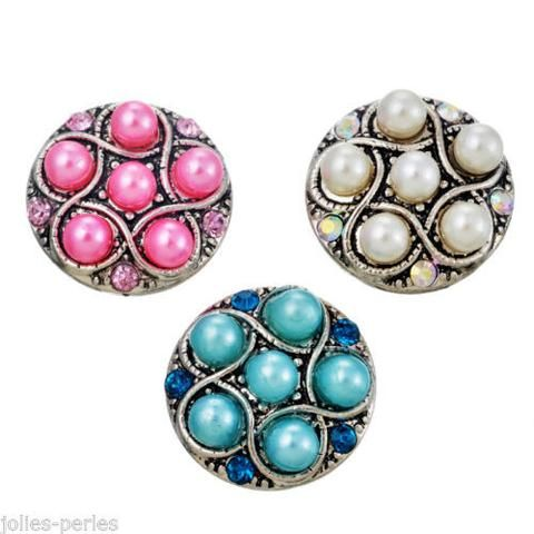 JP 3PCs Silver Tone Mixed Round Rhinestone Pearls Snap Button Click Jewelry 2cm