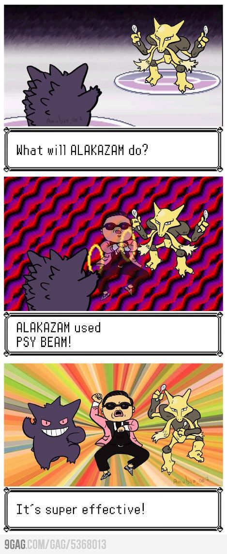 """I showed this to Aaron and he laughed, then said, """"It would be super effective, actually, because Gengar is ghost/poison, and poison is weak to Psychic.""""  I love my nerd :P"""