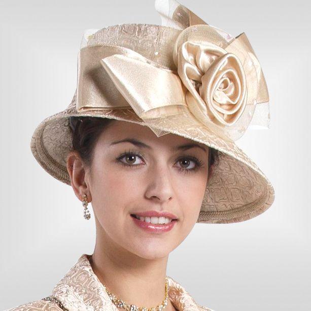 New Lynda s Women Champagne Kentucky Derby Hat Brim Church Hat Sty-344 d41acb0f6c1