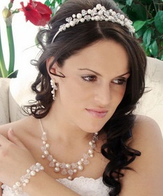 Pearl & Swarovski Crystal Bridal Jewelry & Tiara Set 8135  #wedding