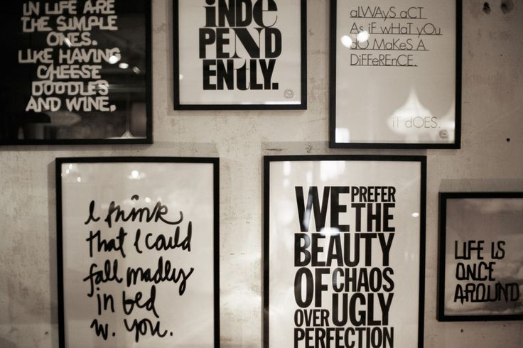 framed text. Quotes, insides jokes, favorite lyrics... could be fun