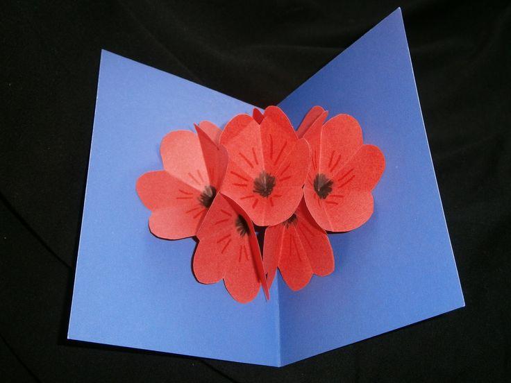 Valentijnsdag prachtige bloemen pop up kaart zelf maken (snelle versie)