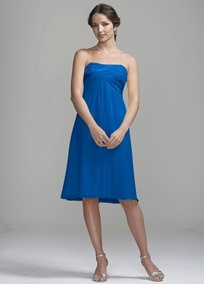 I like this color to be the accent color in general. I'd like a mostly white wedding with a touch of this bright blue. I figure my bridesmaid (and Eric's groomslady) can pick out their preferred style.