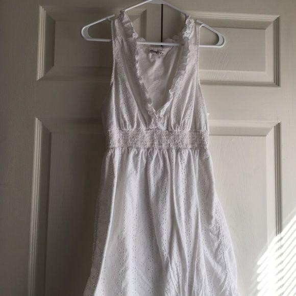 White V Neck Dress White V Neck dress with eyelet detailing Old Navy Dresses Midi