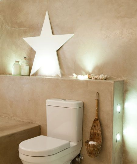 Love this bathroom idea - using Cemcrete for the walls instead of tiles. And their lovely lighting and decor.