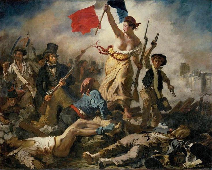 La Liberté guidant le peuple (Liberty Leading the People) Eugène Delacroix  1830  Happy Bastille Day France! However this painting does not actually commemorate THE Revolution but rather the July Revolution of 1830 which toppled King Charles X of France. A woman personifying the concept and the Goddess of Liberty leads the people forward over a barricade and the bodies of the fallen holding the flag of the French Revolutionthe tricolor flag which remains France's national flagin one hand and…