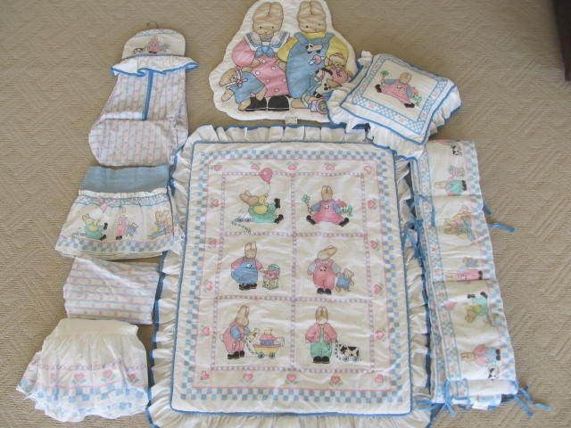 Vintage Daisy Kingdom Baby Honey Bunnies Quilt Crib Set