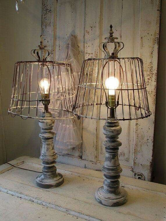 Wooden Baluster Table Lamp Rustic Farmhouse Distressed Wood Base W Recycled Rusty Basket Lampshade Lighting Home Decor Anita Spero Design