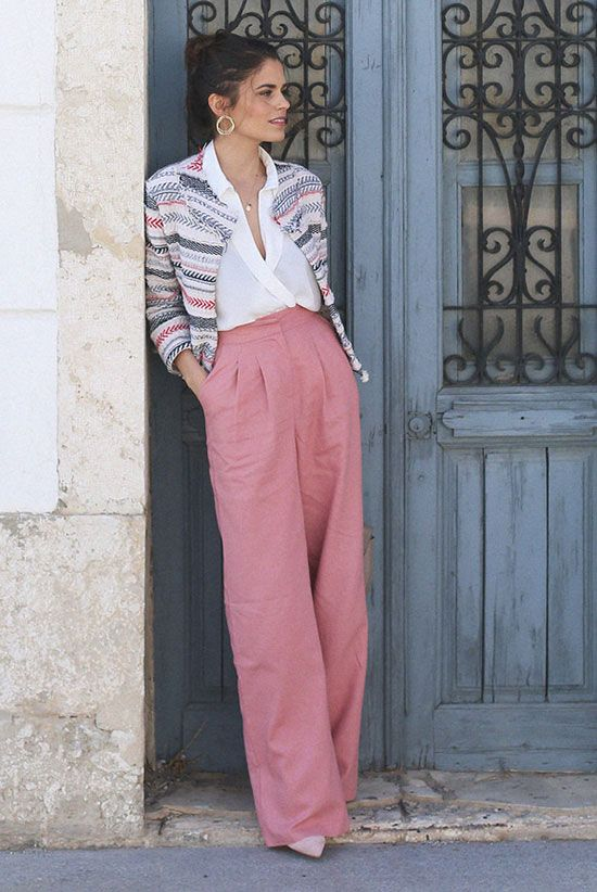 spring work outfit, business casual, office outfit, spring fashion, spring outfit, street style, street chic style - grey and pink striped jacket, white blouse, pink wide leg pants, pink palazzo pants, light pink heels