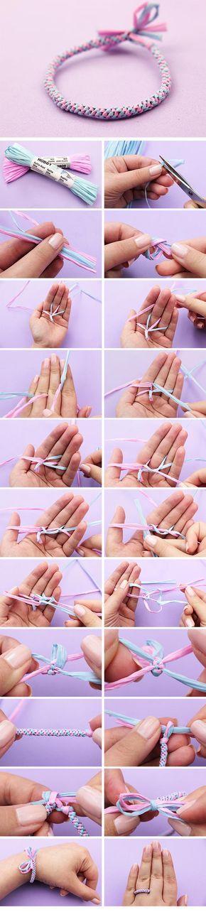 Armbänder selber machen mit Bast #armbänder #armband #DIY #anielasfimo #basteln #knüpfen