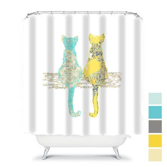cat shower curtain, shabby chic shower curtain, cats shower curtain, shabby chic bathroom decor, cat decor, yellow gray shower curtain, cat bath, cat bathroom decor, extra long shower curtain, fabric shower curtain. This shower curtain design is a unique and original design. You