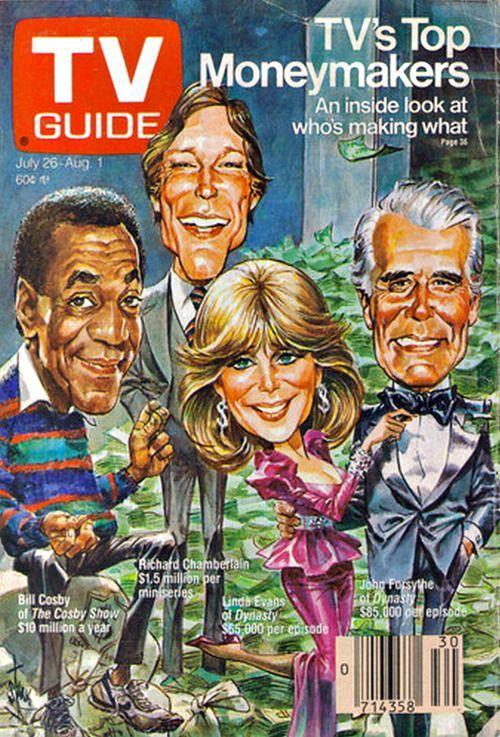 TV Guide: Bill Cosby, Bill Chamberlain, Linda Evans & John Forsythe, 80's