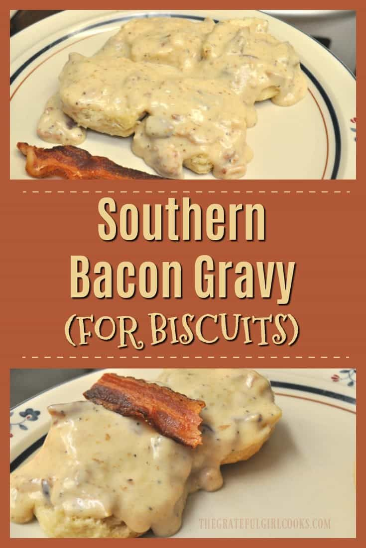 Make thick, creamy Southern BACON Gravy for biscuits- from scratch! Easy to make, and tastes absolutely DELICIOUS! via @gratefuljb