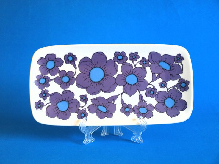 Westminster Fine China Purple & Blue Flower Power Plate - Retro 70s Sunflower Daisy Poppies Serving Platter Tray Dish - Made in Australia by FunkyKoala on Etsy