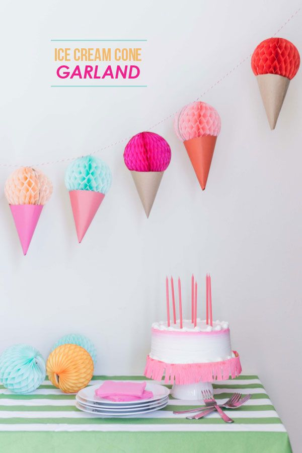 DIY ice cream cone garland -- fun for decorating the dessert table at a child's birthday party.
