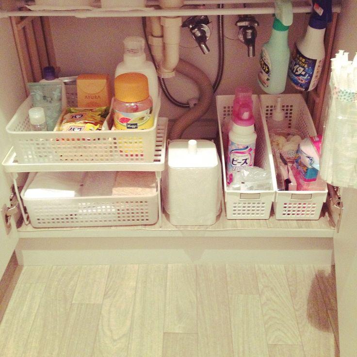 洗面台下の収納。ここにもクッションフロアを敷いてます。(yukino) | RoomClip(ルームクリップ)