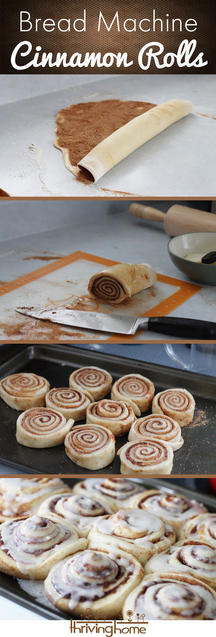 Bread machine cinnamon roll recipe. So easy to just let the bread machine make the dough for you and then you do the fun part: baking them!