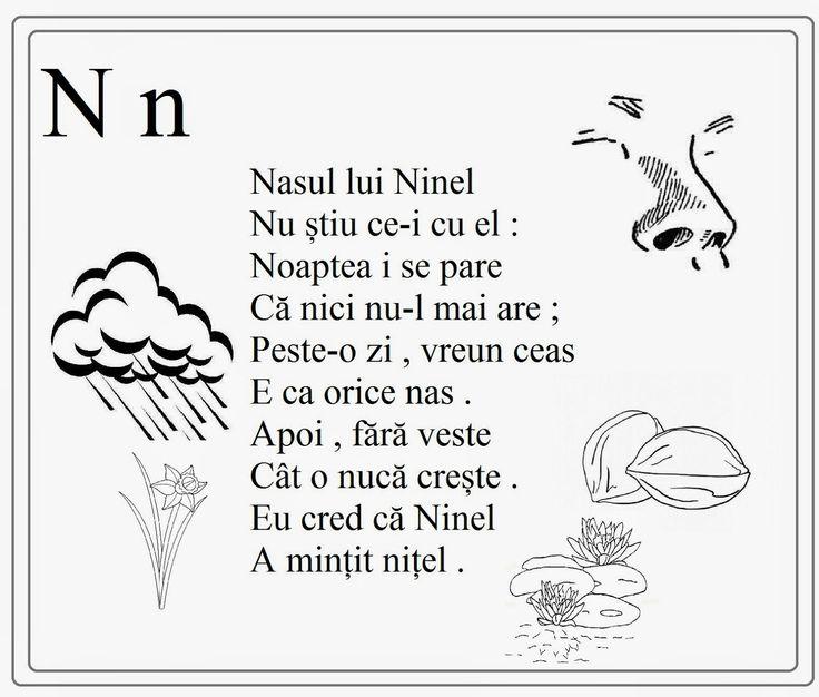 alfabetul limbii romane pentru copii in versuri- N n - Google Search