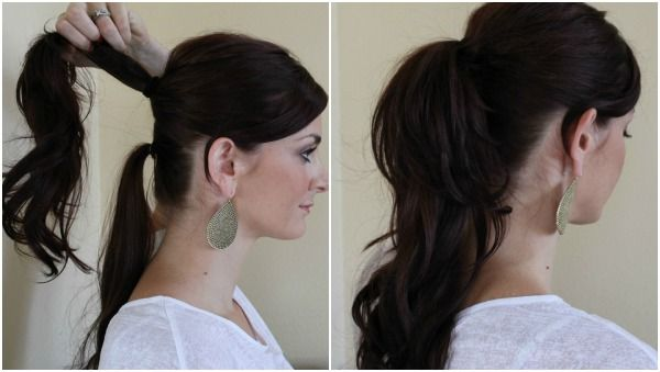 Put your hair into several ponytails at once. You don't just have to go for just 1 or 2 ponytails anymore. Instead, consider separating your hair into 3 or 4 ponytails high on your head. It looks trendy and cute!