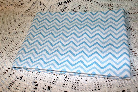 Single Layer Receiving Blanket Blue & White Chevron