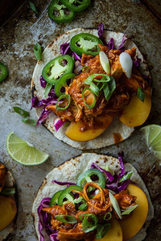 Peach Chipotle Chicken Tacos