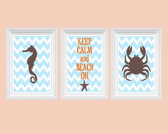 Ocean Nursery Art Beach Sea Horse Ahoy and Crab Print Wall Art Chevron Kids room Set of 3 - 8x10 Prints Baby's Room Decor Playroom