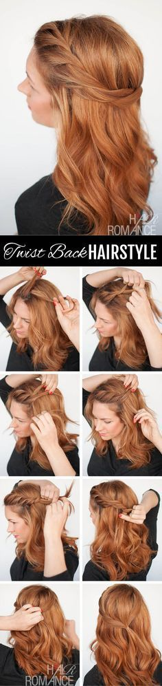 The Twist back – easy half-up hairstyle tutorial   Growing out your fringe/bangs? You'll love this simple twist back style to tame your front layers.  If your hair is also prone to frizz, this easy hairstyle is perfect for twisting your hair back out of your face.   hairromance