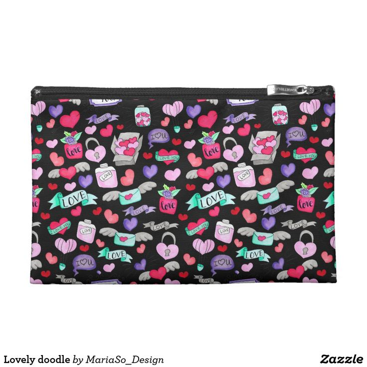 Lovely doodle cosmetic bag