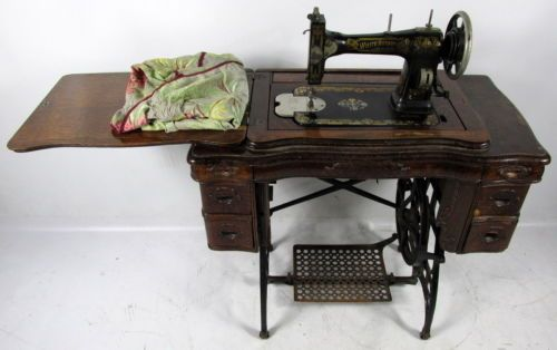 antique vintage white family rotary sewing machine and