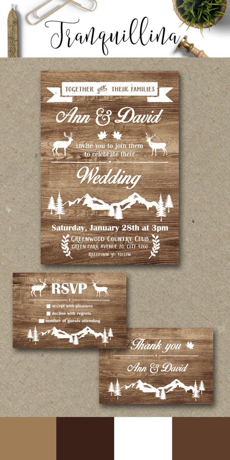 Wedding Invitation Printable, Rustic Fall Winter Wedding Invitations, Deer Wedding Invitation Suite, Mountain Wedding Theme - pinned by pin4etsy.com