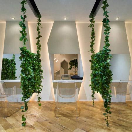 Japanese designer Kazutoyo Yamamoto of Dessence has created a beauty salon featuring hanging vines in Saitama, Japan.