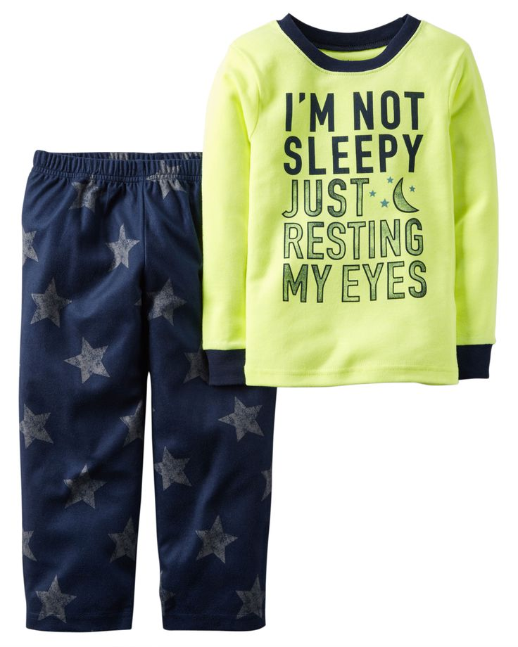 Toddler Boy 2-Piece Neon Cotton & Fleece PJs | Carters.com