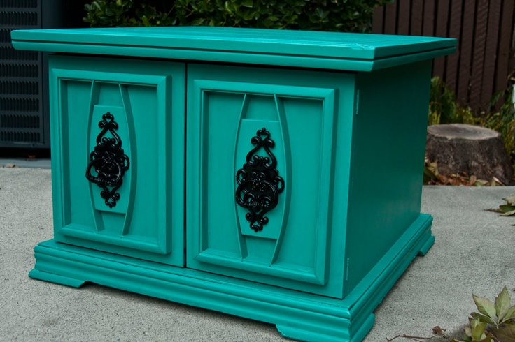 Modernly Shabby Chic Furniture: Teal Nightstand/End Table
