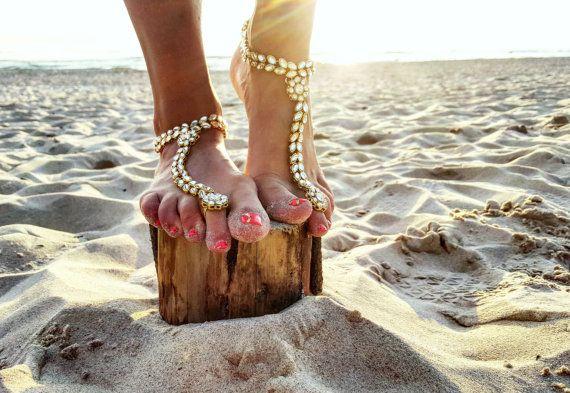 Plage de mariage pieds nus, sandales, mariée bijoux de pied, bracelet esclave Boho, mariage bracelet de cheville, accessoires de demoiselle d