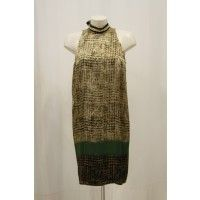 Vestiti Cristinaeffe collection abito donna Cristinaeffe collection abito donna media lunghezza colori verde e sabbia 100% seta