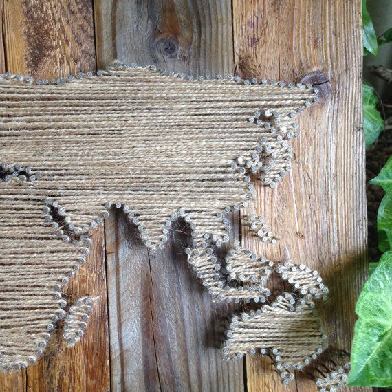 Small World Map String Art