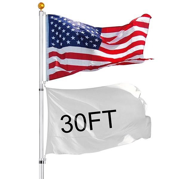 YesHom™ 30 ft Aluminum Telescoping Flagpole Kit with US Flag