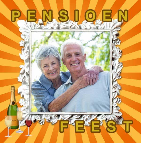 Uitnodiging pensioenfeest met foto in een chique lijst.
