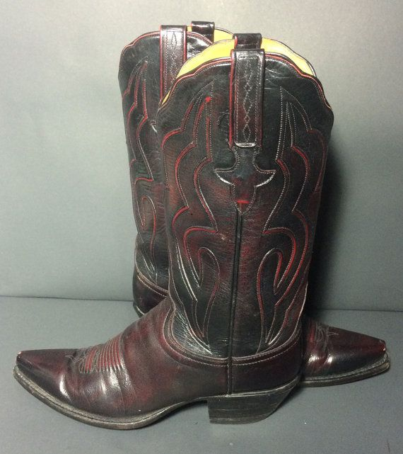 LUCCHESE Burgundy Leather Western Cowboy Boots Women's Size 8  Price: $159.99 https://www.etsy.com/listing/230323524/lucchese-burgundy-leather-western-cowboy?ref=shop_home_listings