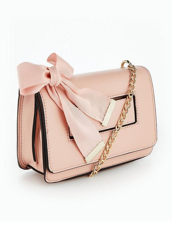 V By Very Ribbon Detail Crossbody Bag Pale Pink Co Uk