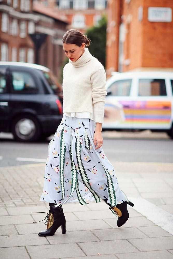 Felicity Kay, Fashion Assistant. Tibi roll neck jumper, Suno floral skirt, Celine Oxford knee high boots, Whistles bag, Annoushka earrings. What ELLE Wears, LFW SS 2016 Street Style.