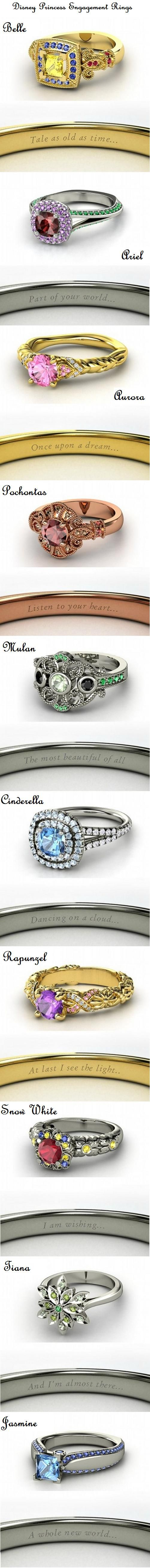 Disney Princess Engagement Rings!!!! Ariel, Pocahontas, Cinderella, Snow White, Mulan, and Jasmine!