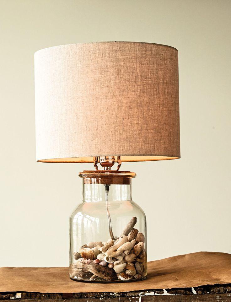 Waterside Glass Jar Table Lamp with Cork Stopper and Burlap Shade (100 Watt Bulb Maximum